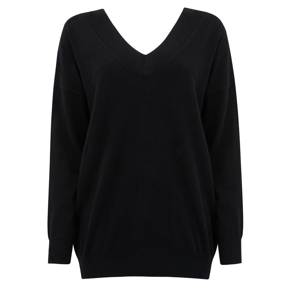 Double V Neck Cashmere Jumper - Black