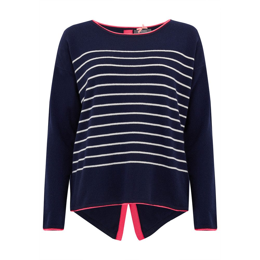 Star & Button Back Cashmere Sweater - Navy, Bowie & Cream