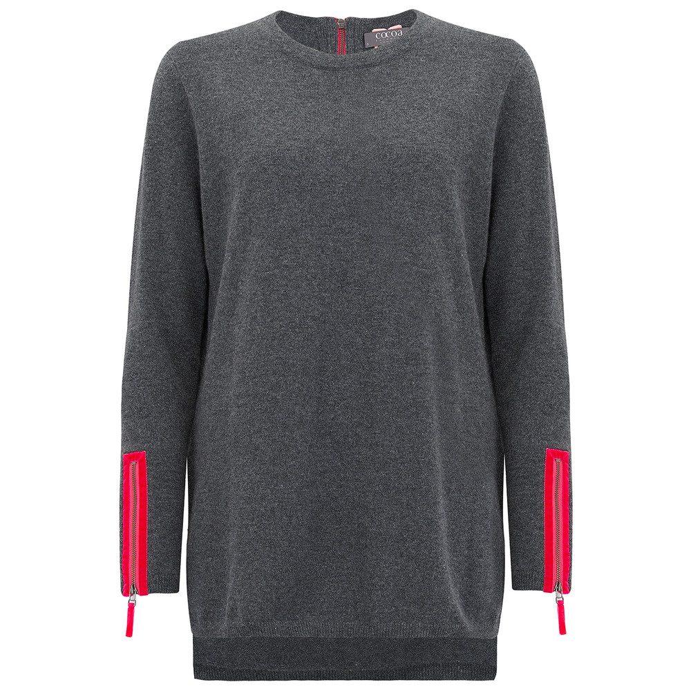 Velvet Zip Trim Cashmere Sweater - Ash