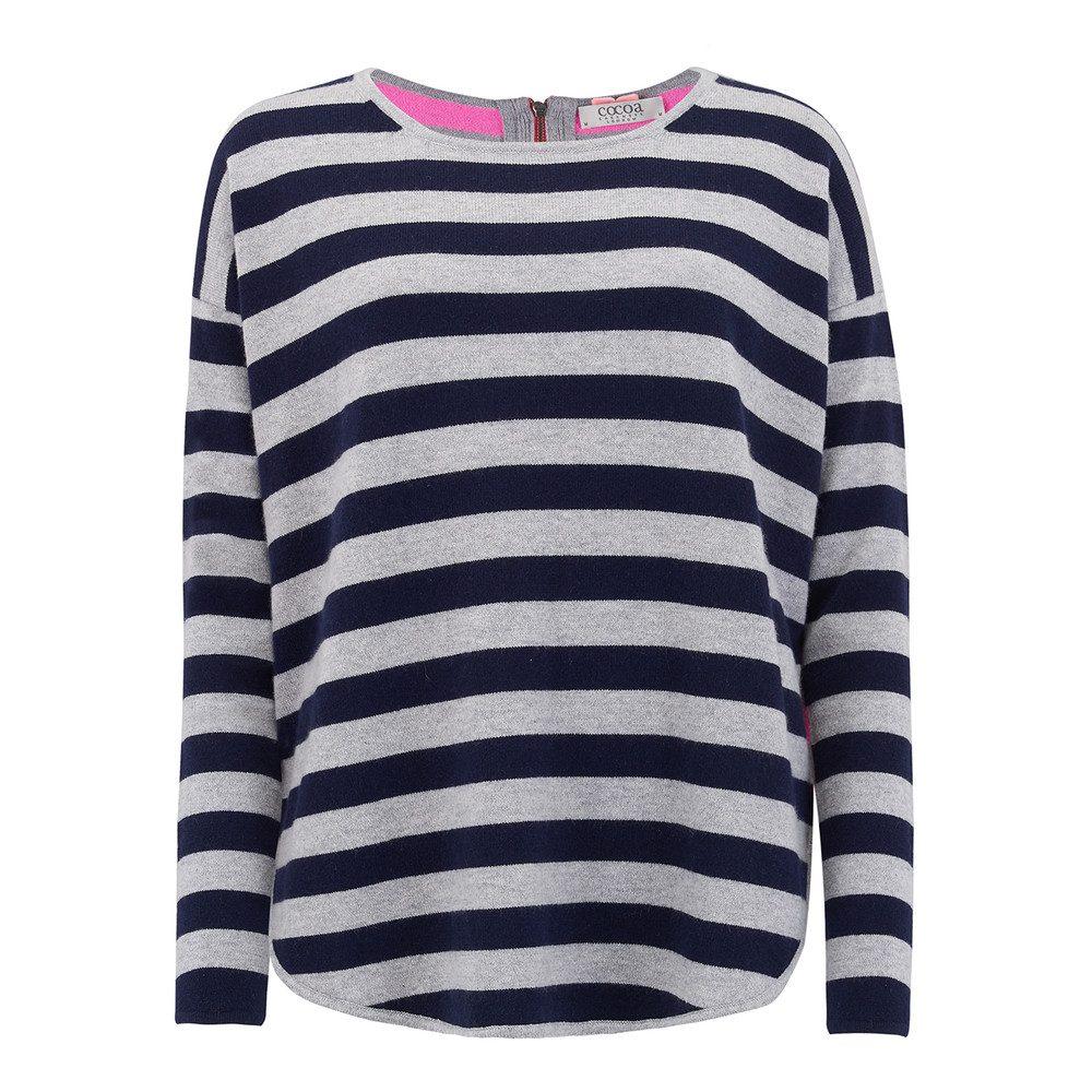 Striped Curved Hem Cashmere Sweater - Navy, Grey & Candy