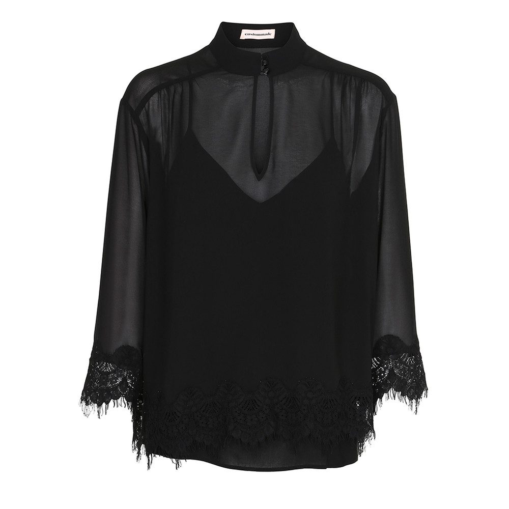 Karrie Lace Blouse - Anthracite Black