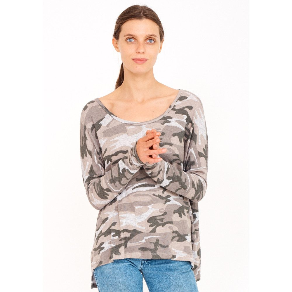 Button Back Sweater - Camo