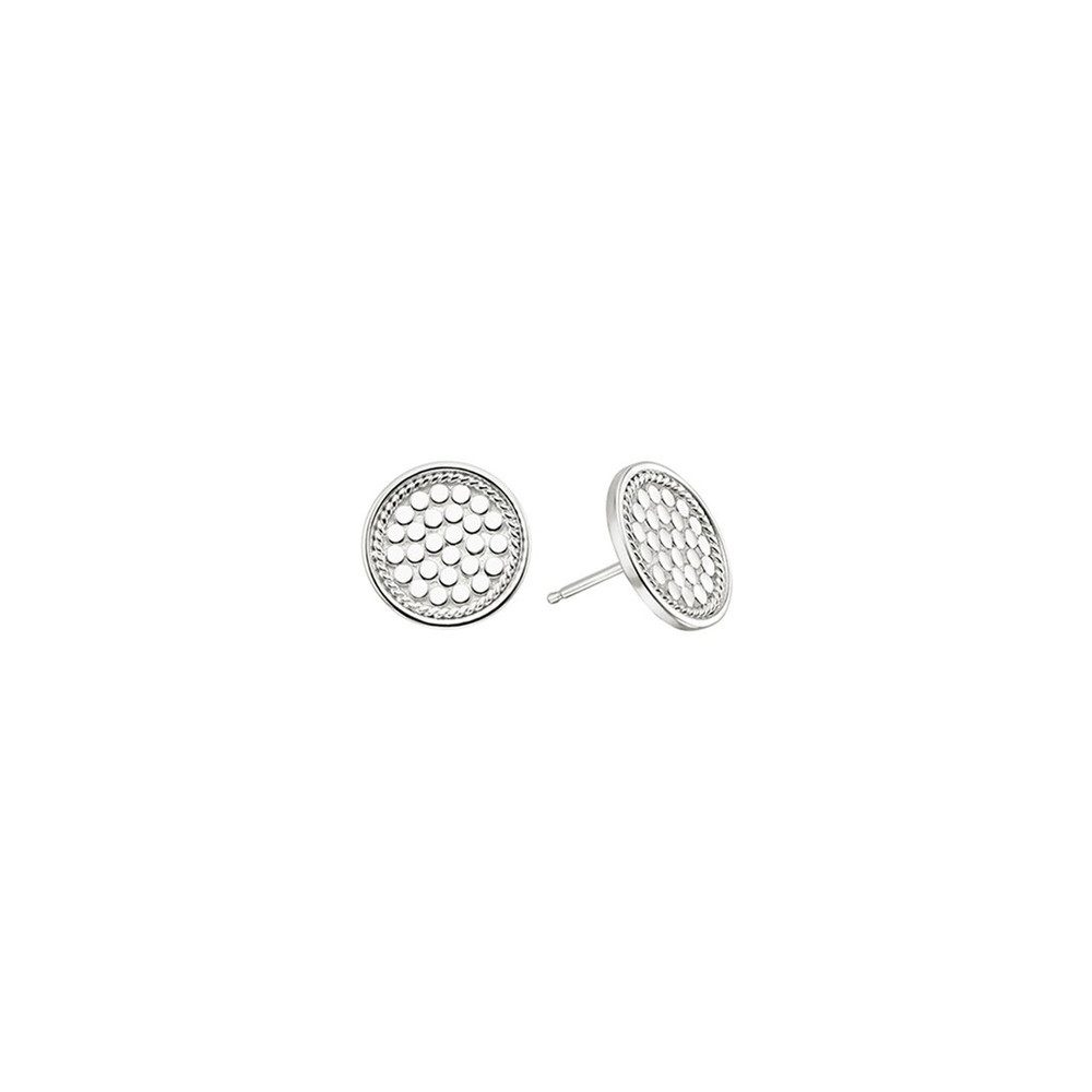 Signature Circle Stud Earrings - Silver