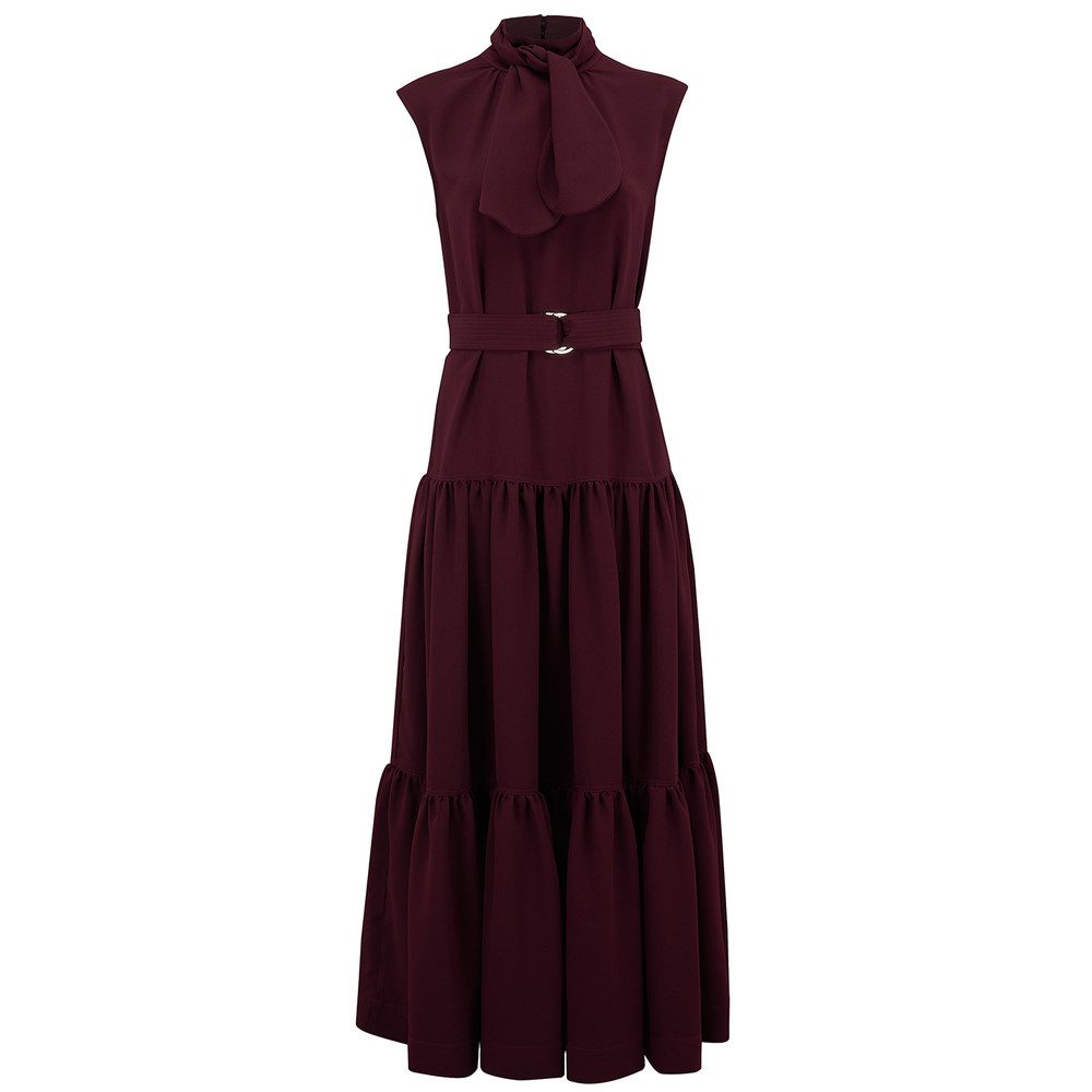Tie Detail Maxi Crepe Dress - Aubergine