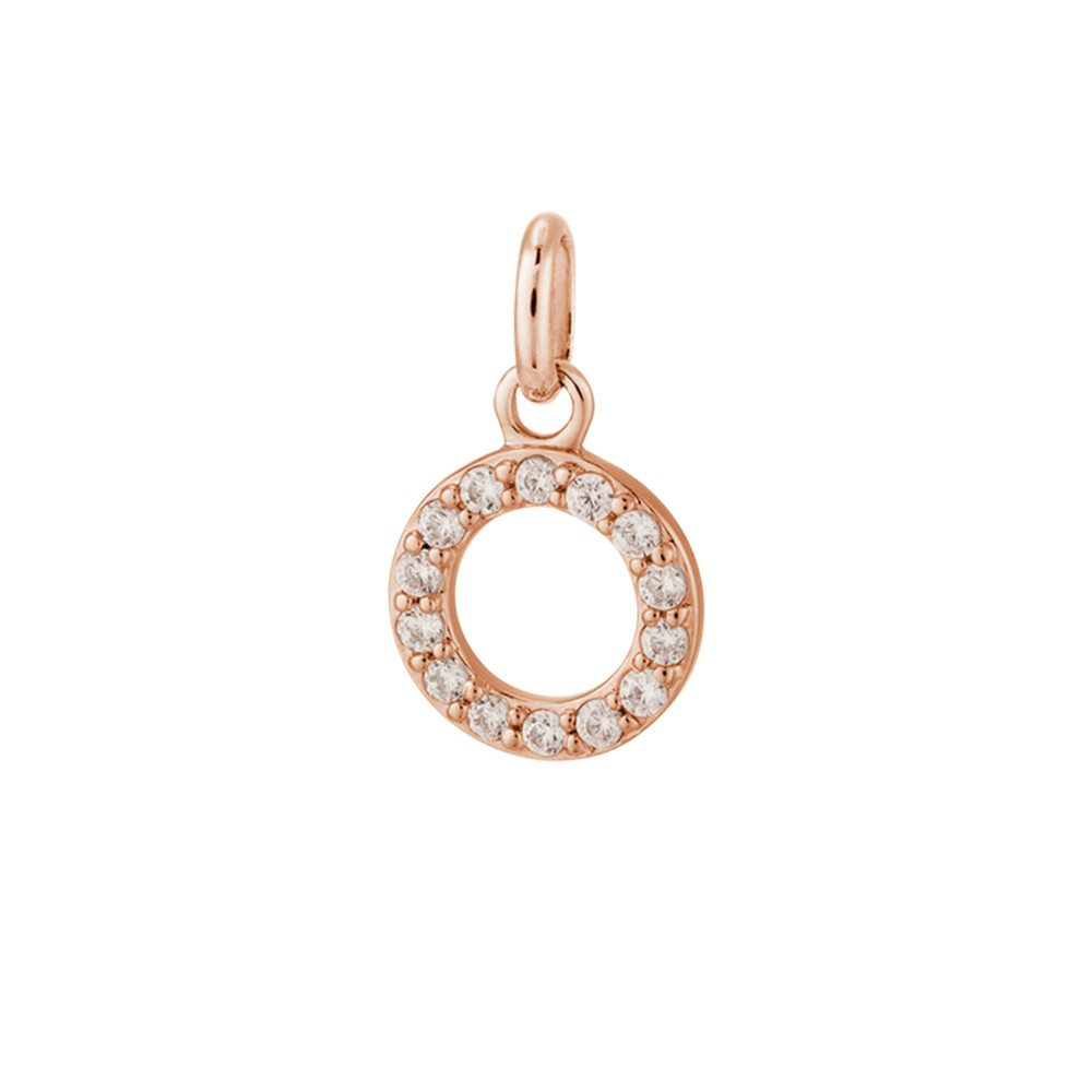Bespoke Crystal Circle Outline Charm - Rose Gold