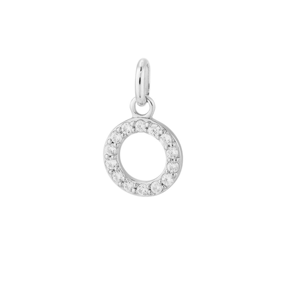 Bespoke Crystal Circle Outline Charm - Silver