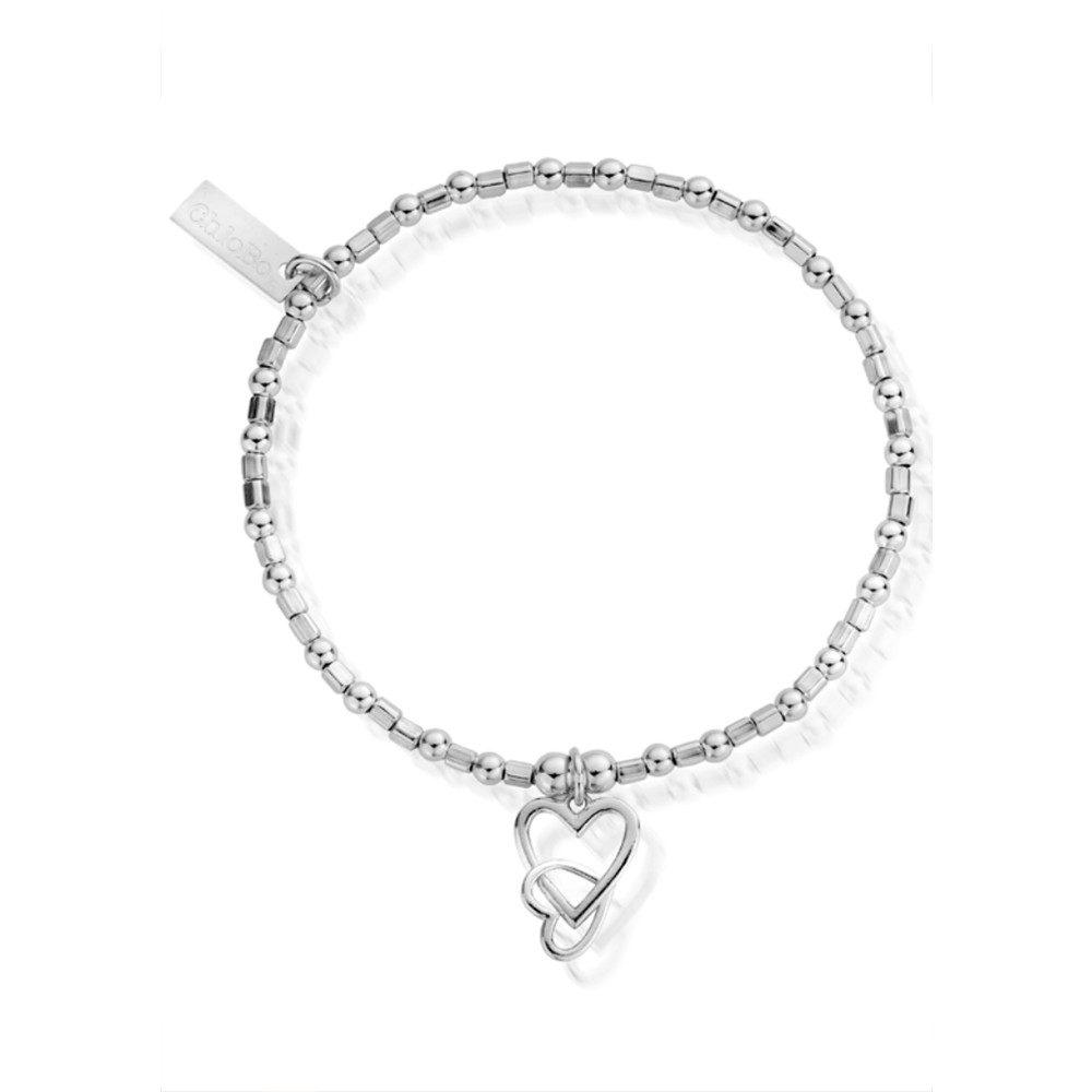 Mini Cube Interlocking Love Heart Bracelet - Silver