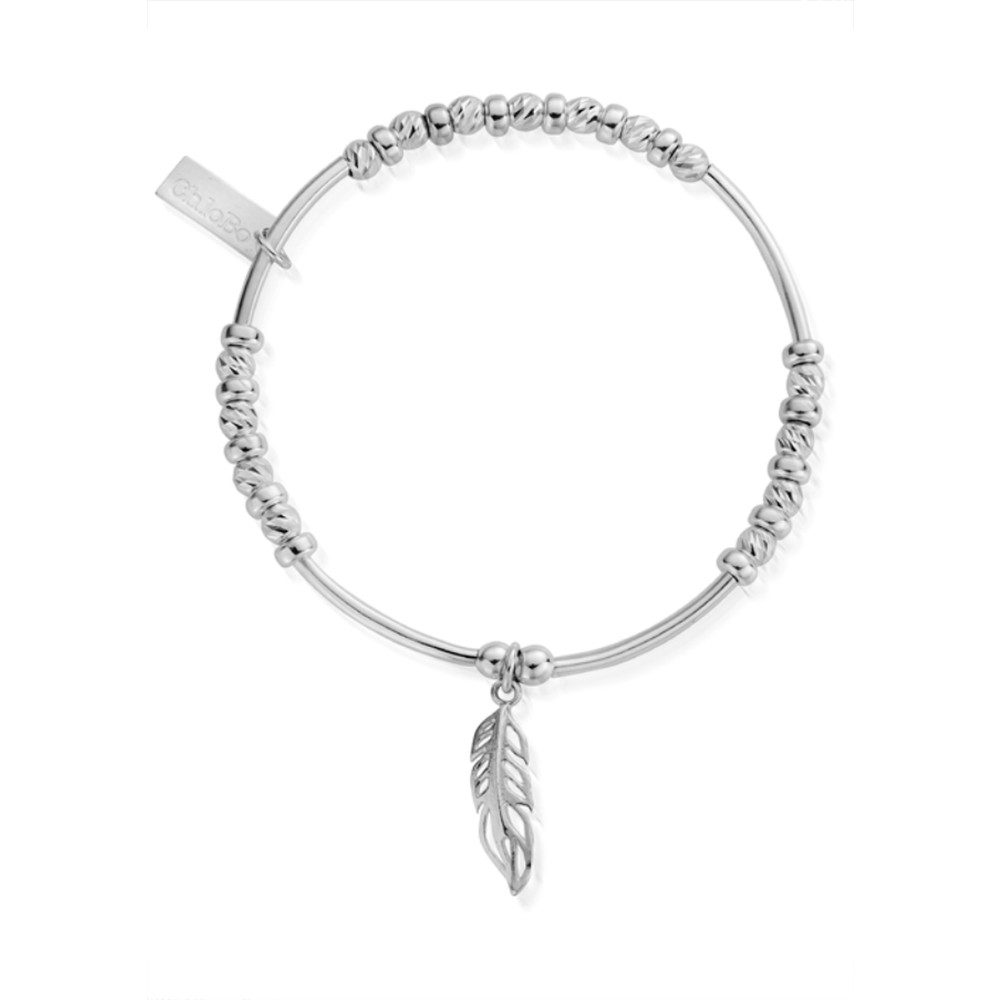 Inner Spirit Sparkle Filigree Feather Bracelet - Silver