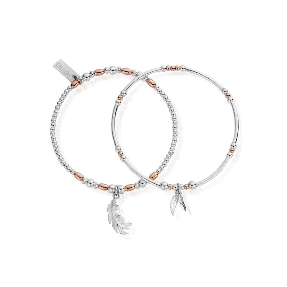 Inner Spirit Strength & Courage Set of 2 Bracelets - Rose Gold & Silver