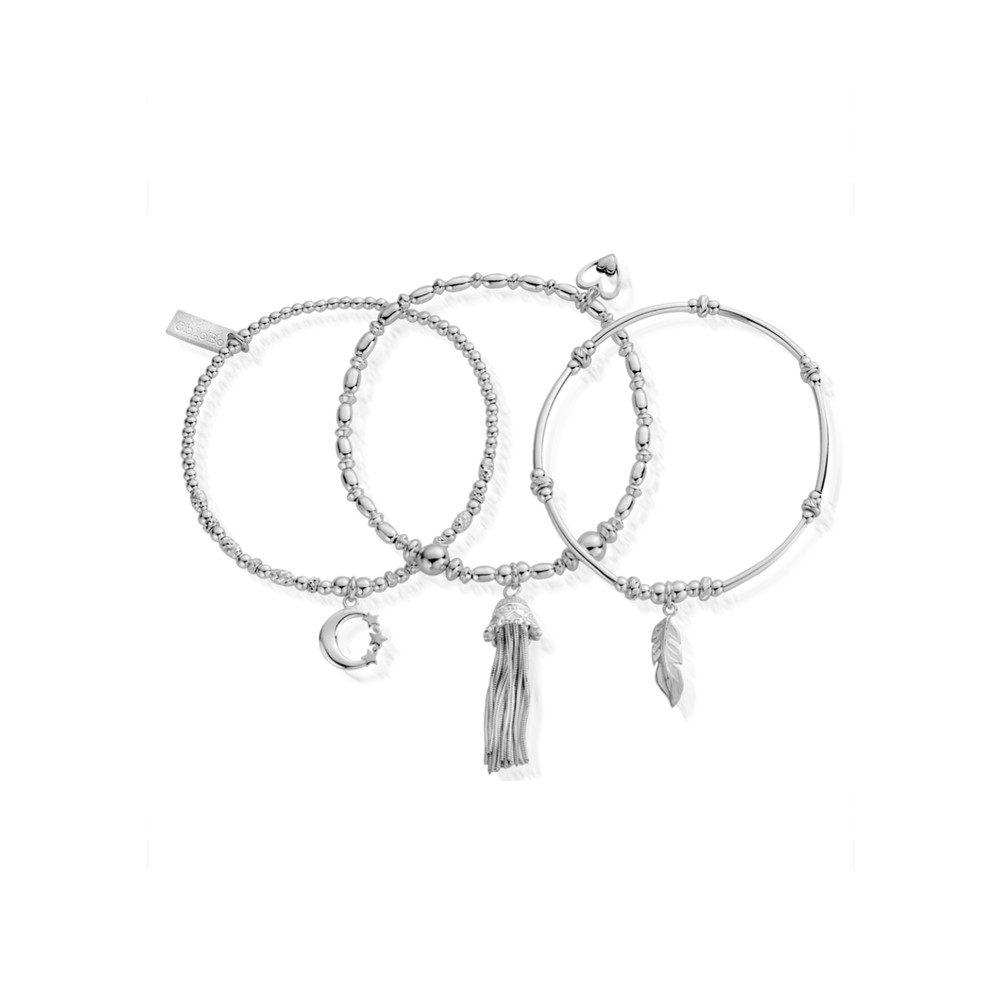 Inner Spirit Stack of 3 Bracelets - Silver