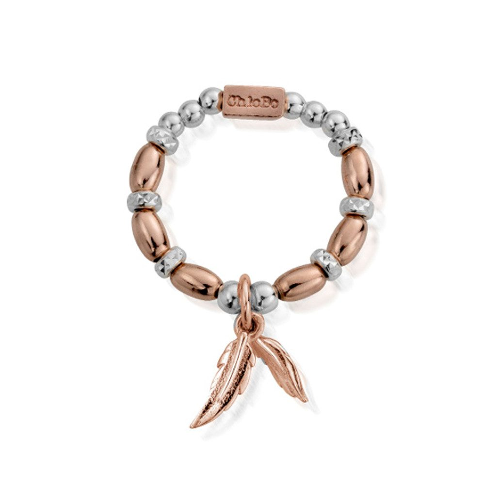 Inner Spirit Dainty Double Feather Ring - Rose Gold & Silver