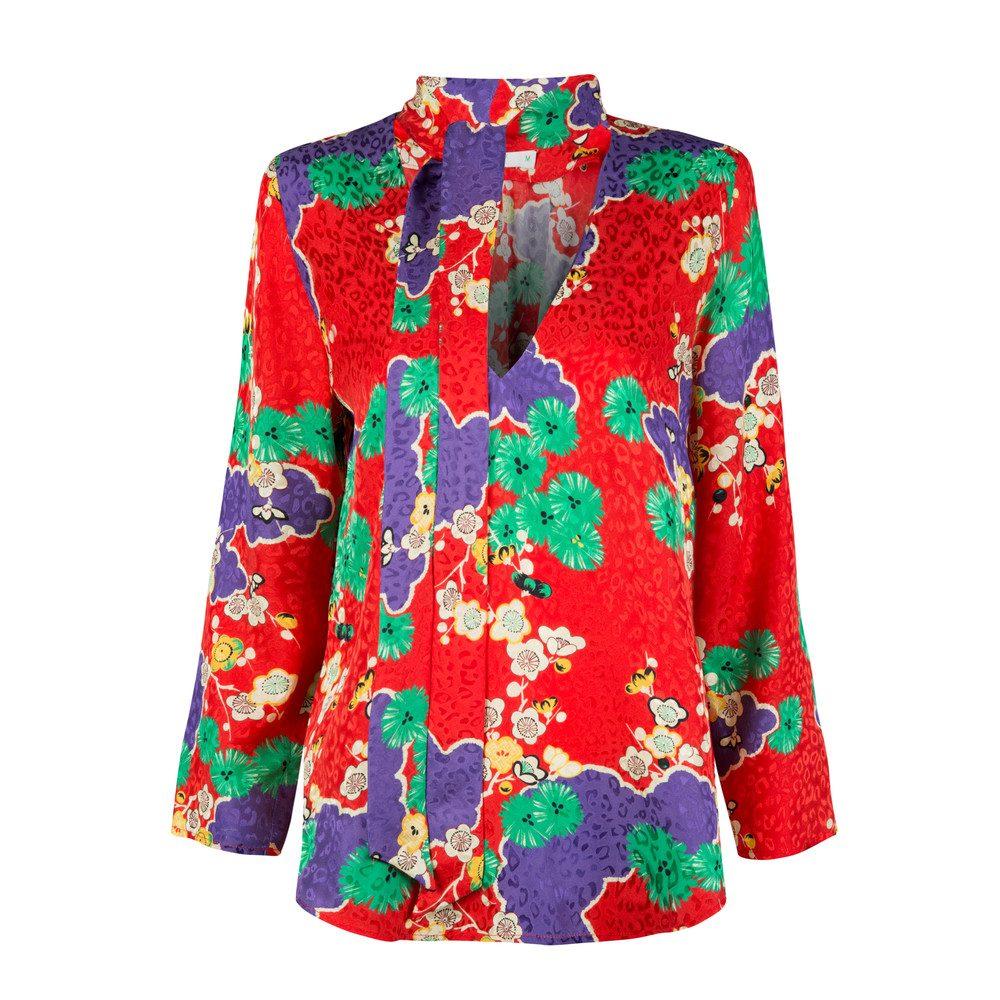 Sadie Neck Tie Blouse - Red Cherry Blossom