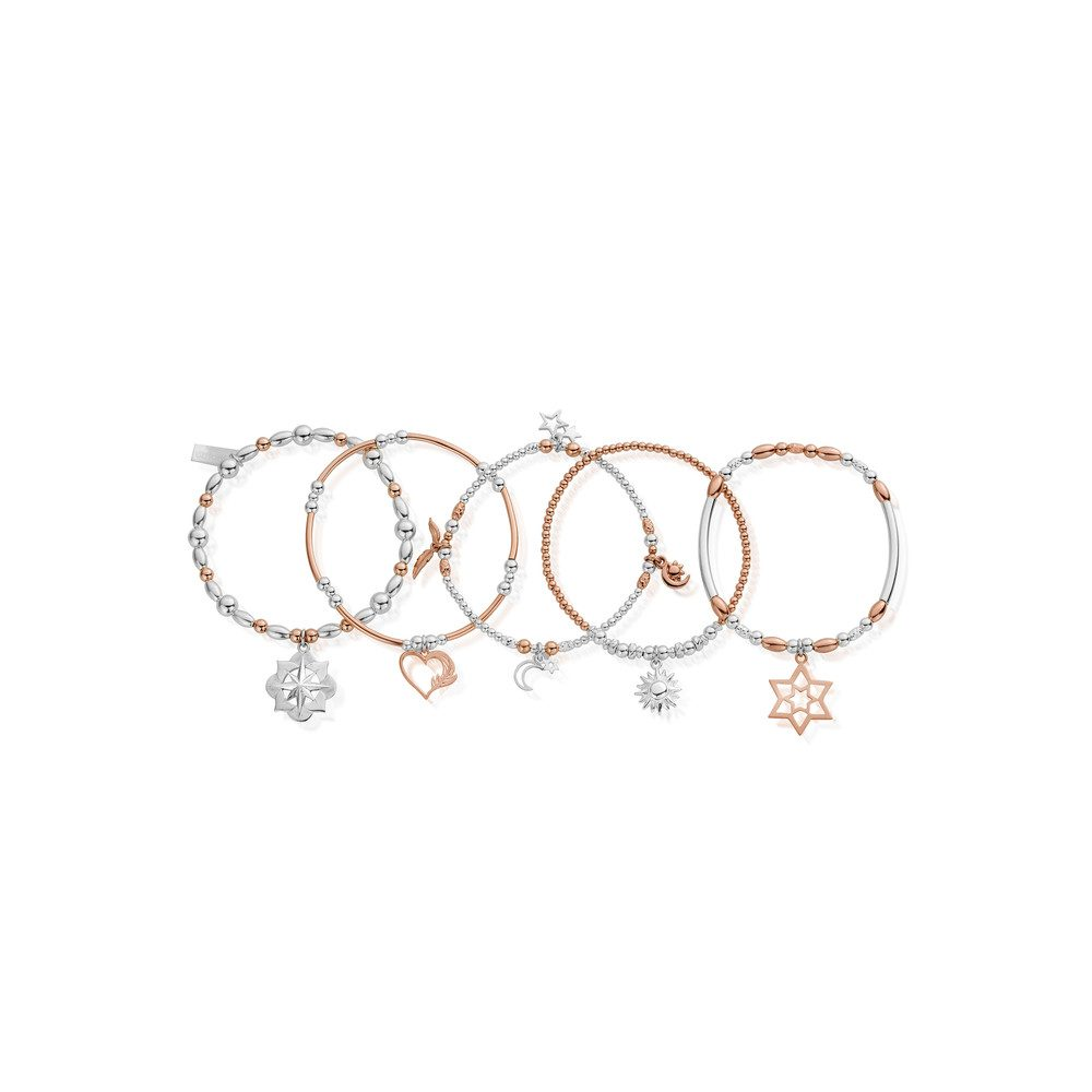 Inner Spirit Stack of 5 Bracelets - Rose Gold & Silver