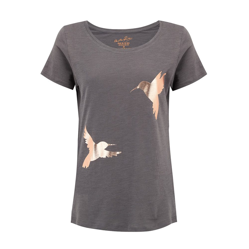 Hummingbirds T-Shirt - Grey & Rose Gold