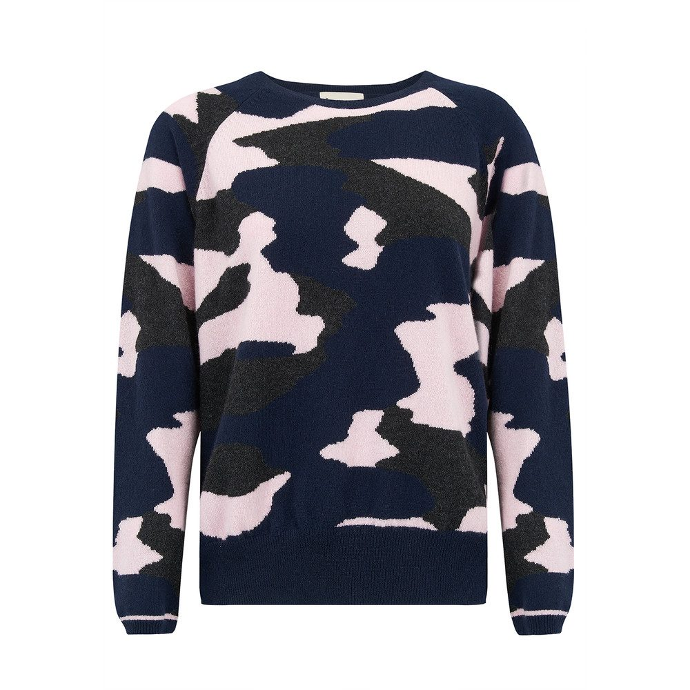 Camo Cashmere Jumper - Navy, Charcoal and Ice Pink