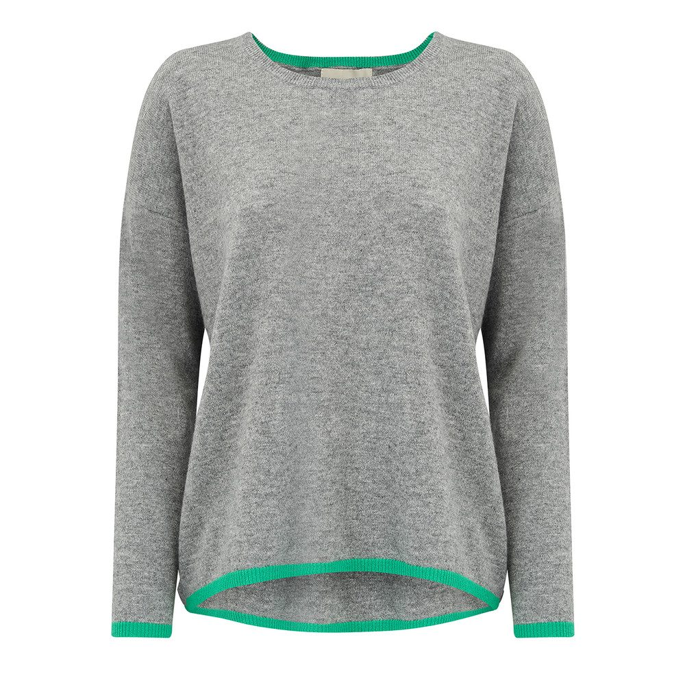 Neon Stripe Cashmere Jumper - Mid Grey & Green
