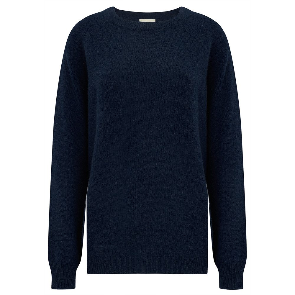 Striped Pocket Boyfriend Cashmere Jumper - Navy
