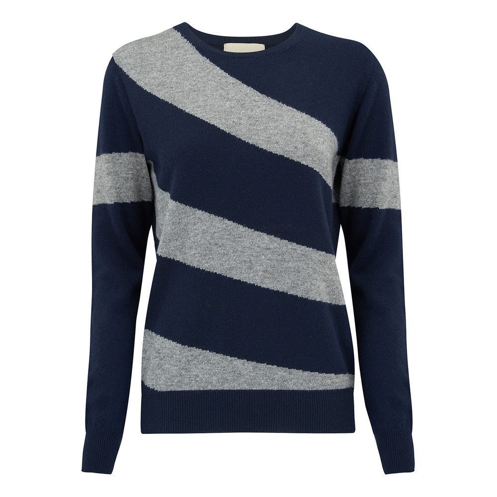 Hoop Stripe Crew Jumper - Navy & Mid Grey