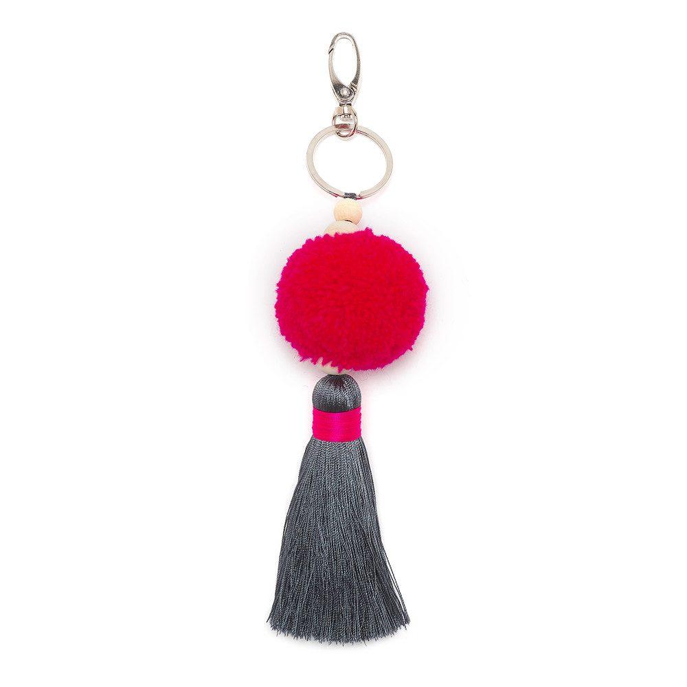 Short Pom Pom Tassel Keyring - Hot Pink & Grey