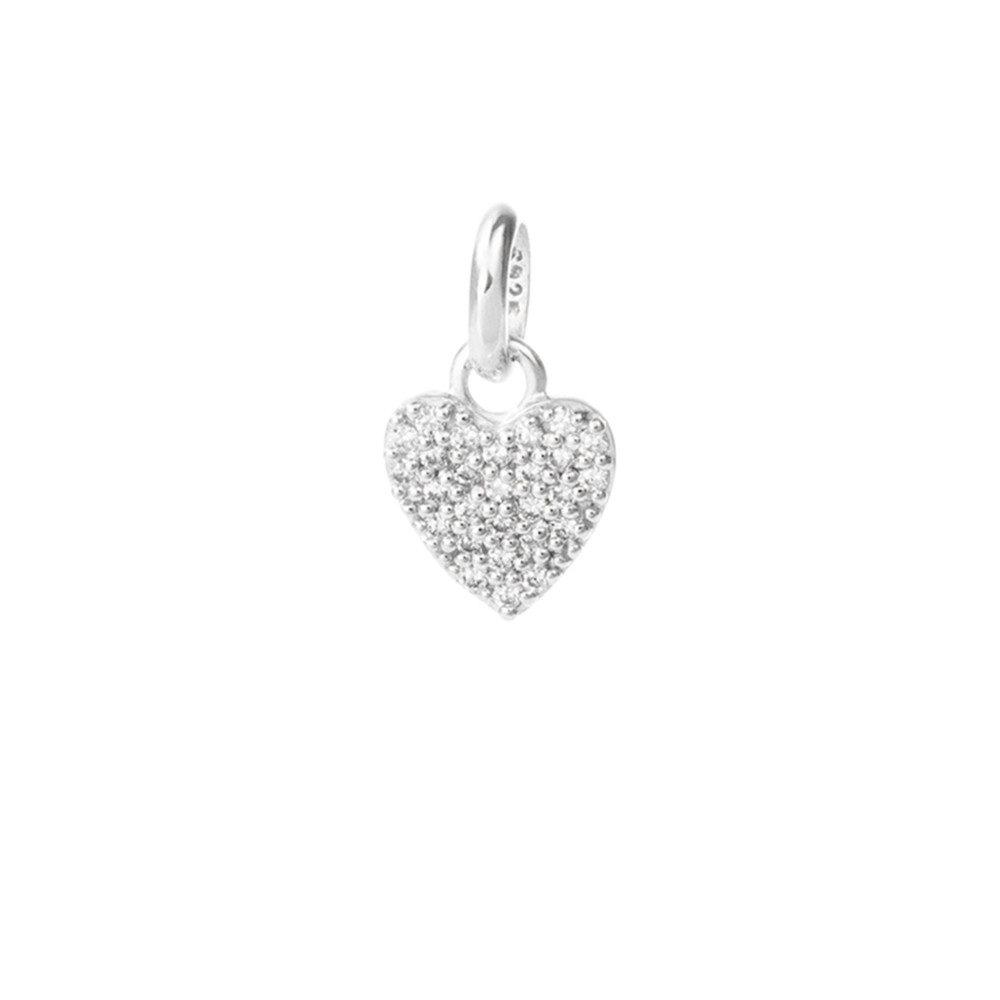 Bespoke Crystal Heart Charm - Silver
