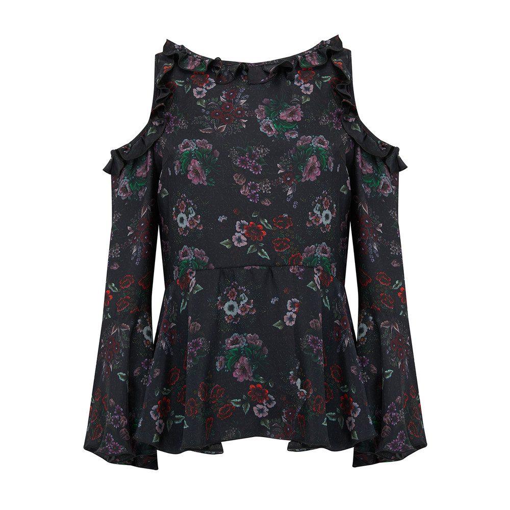 Floral Drop Shoulder Top - Black Floral