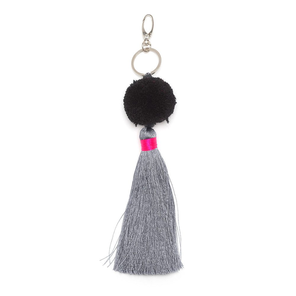 Long Pom Pom Tassel Keyring - Black, Grey & Pink
