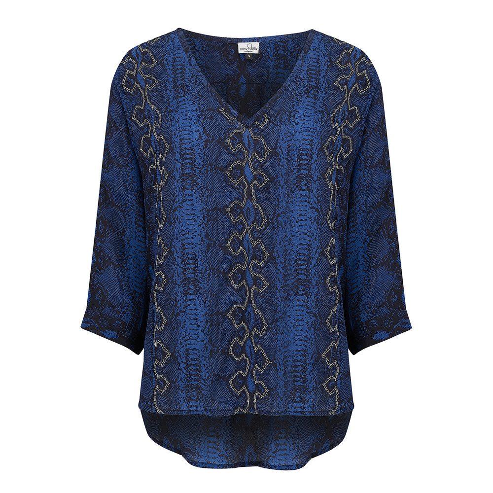 Parke Embroidery Silk Top - Python Midnight