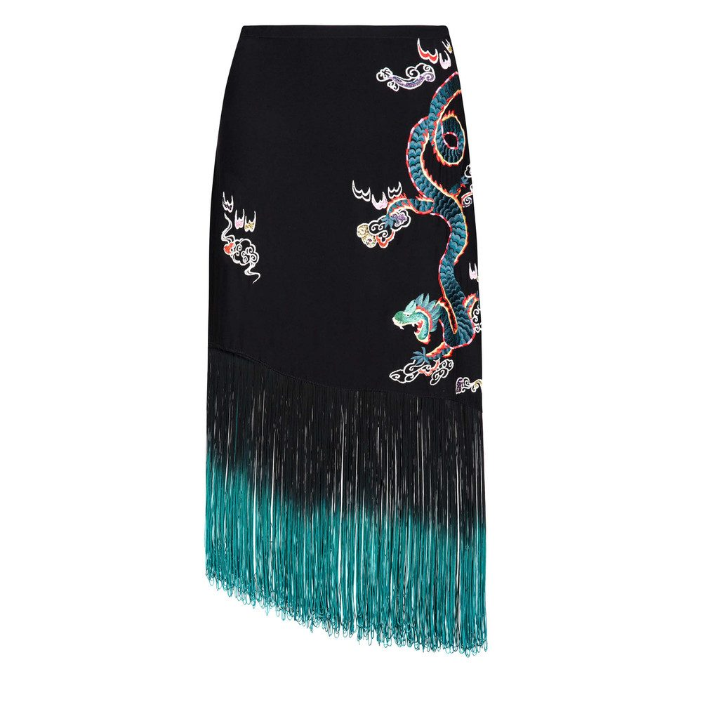 Freya Dragon Embroidery Fringe Skirt - Black