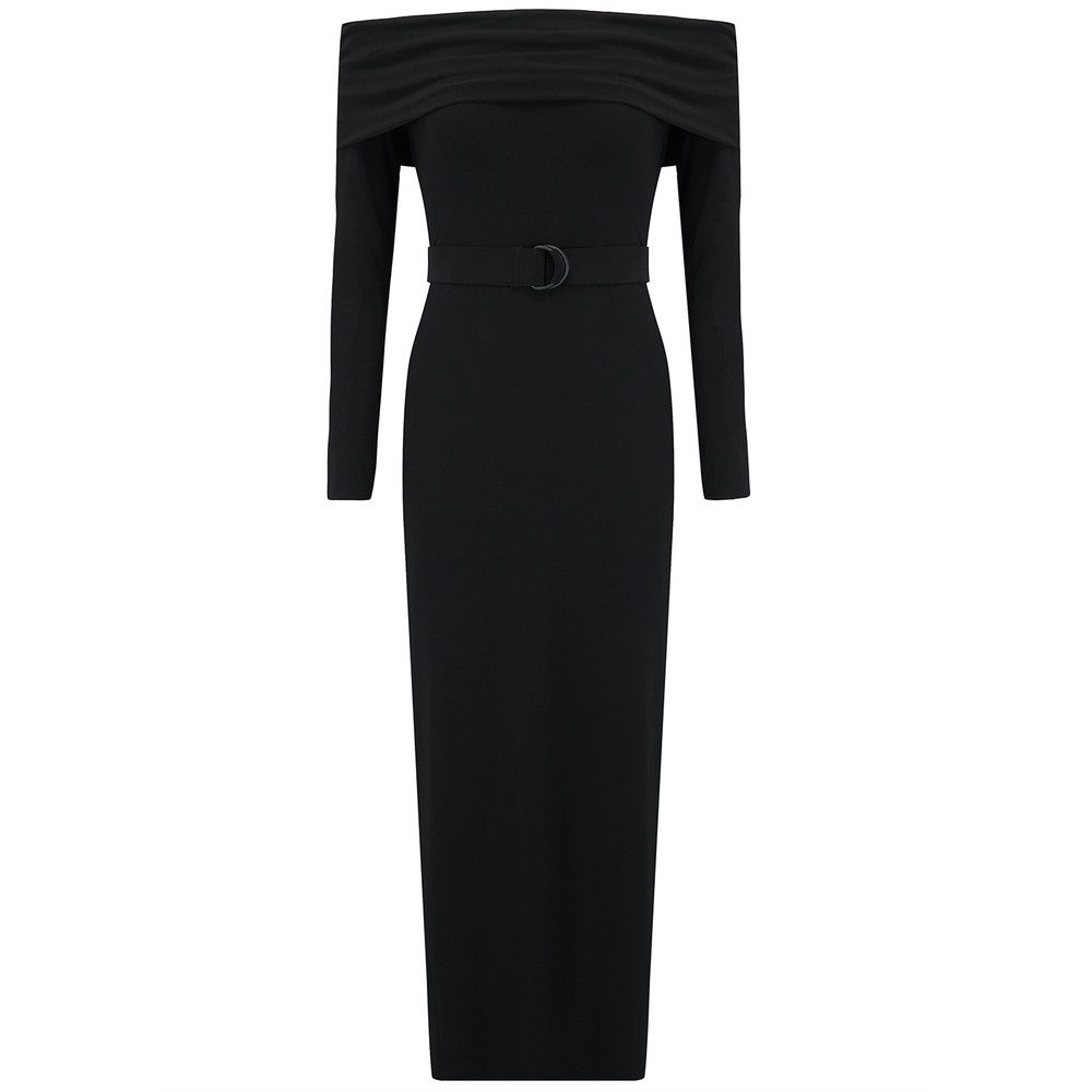 Cowl Neck Straight Dress - Black