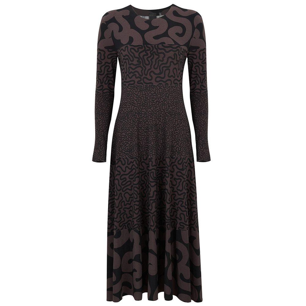 Long Sleeve Flared Dress - Squiggle Combo
