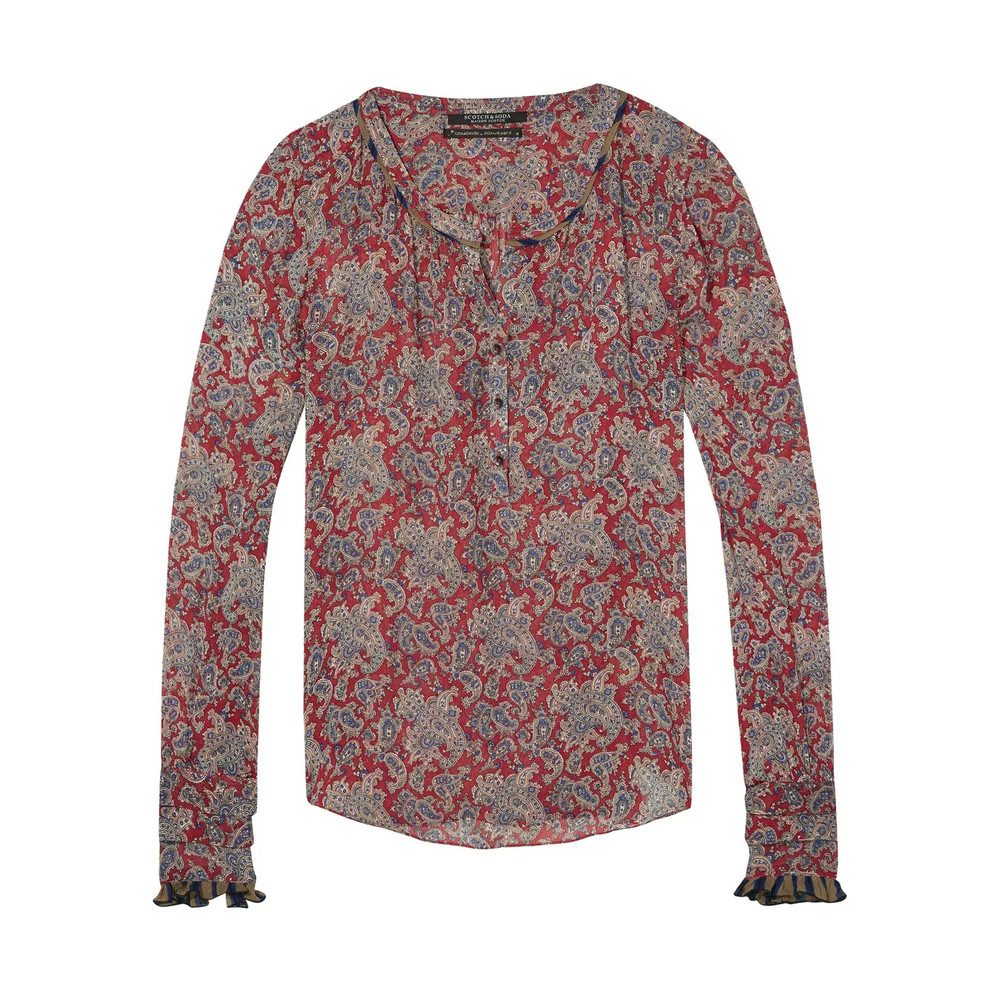 Printed Top with Contrast Details - Colour 17