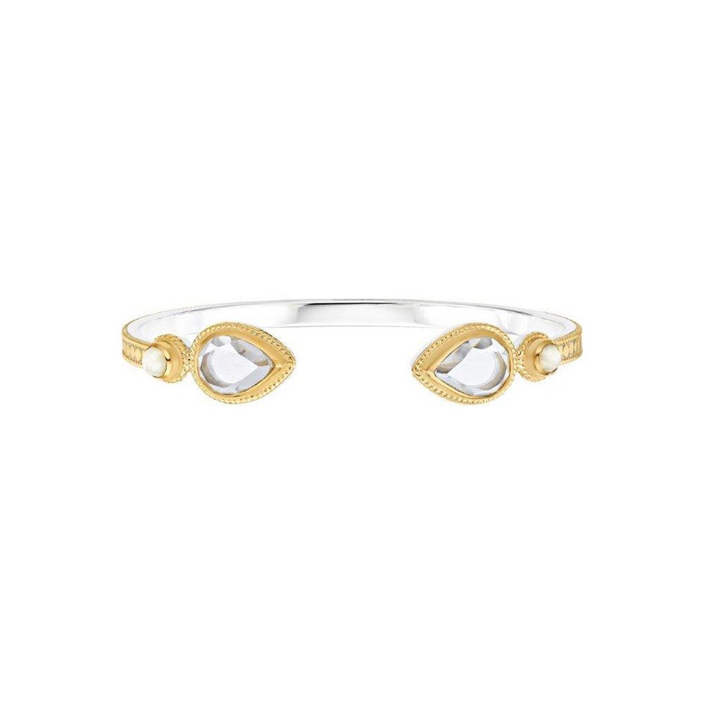Moonstone and Crystal Open Teardrop Cuff - Gold