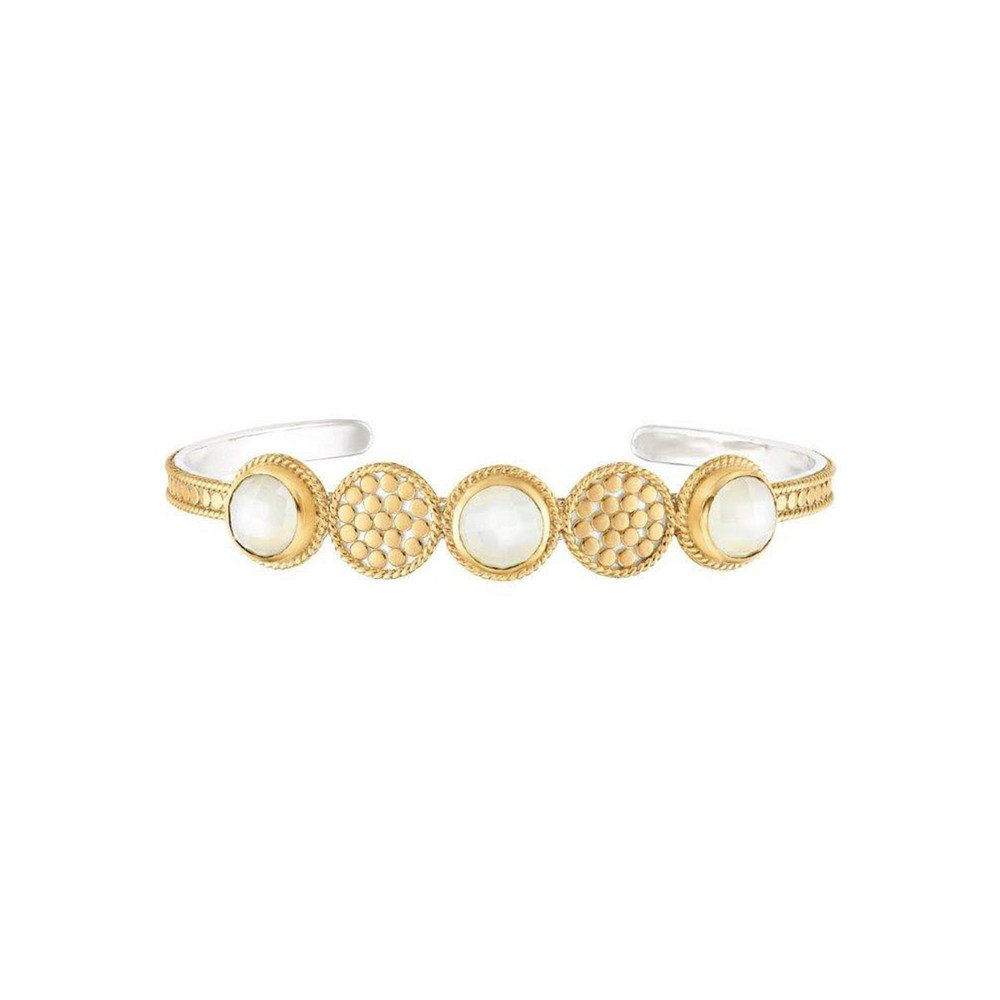 Moonstone Multi Disc Cuff - Gold