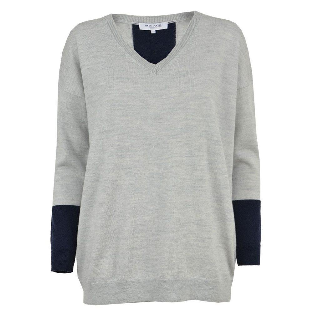 Mumbles Merino Wool Jumper - Grey Melange & Classic Navy