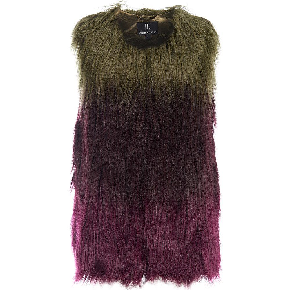 Liquid Fudge Faux Fur Vest - Ombre Olive and Plum