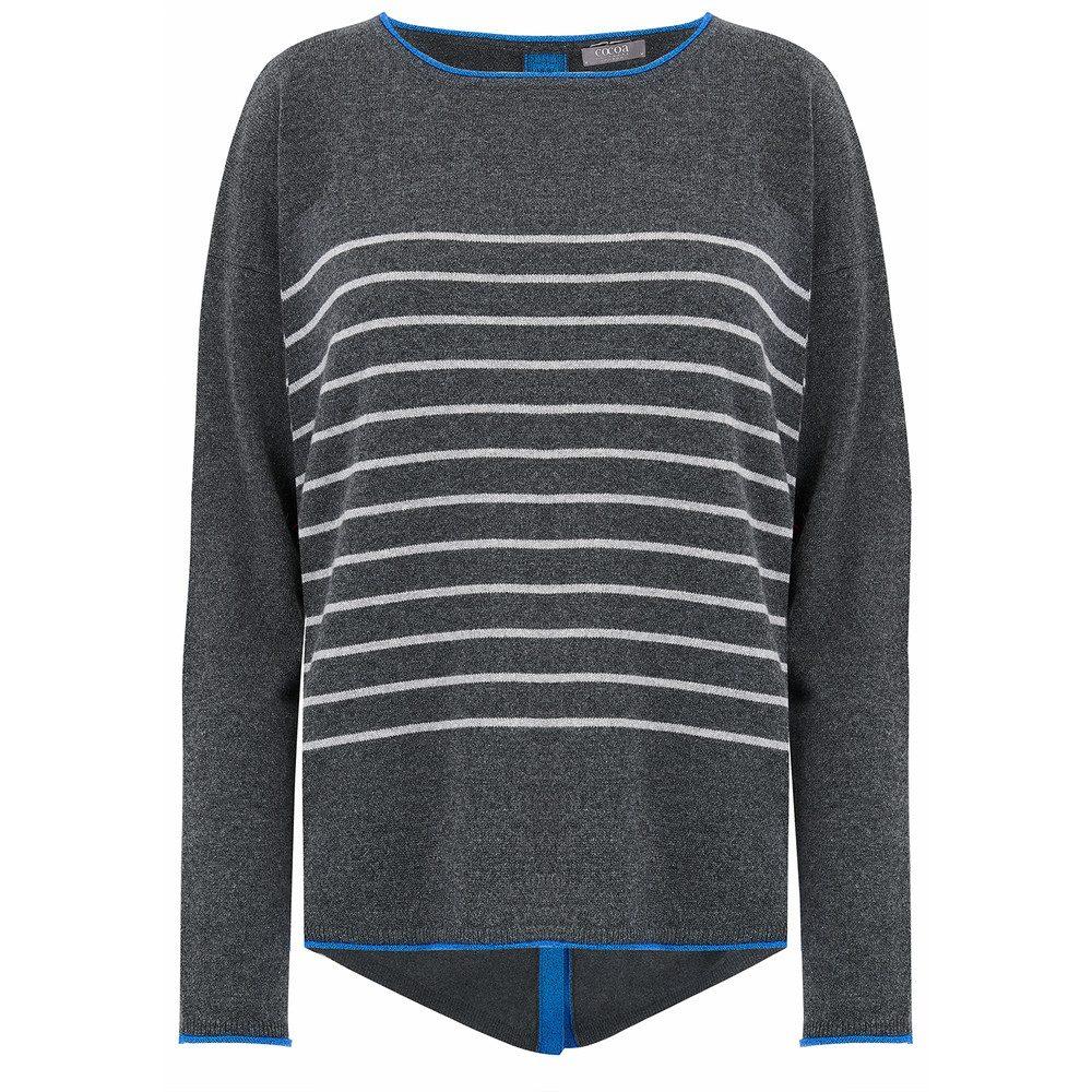 Stars & Stripes Lurex Cashmere Sweater - Ash & Electric Blue
