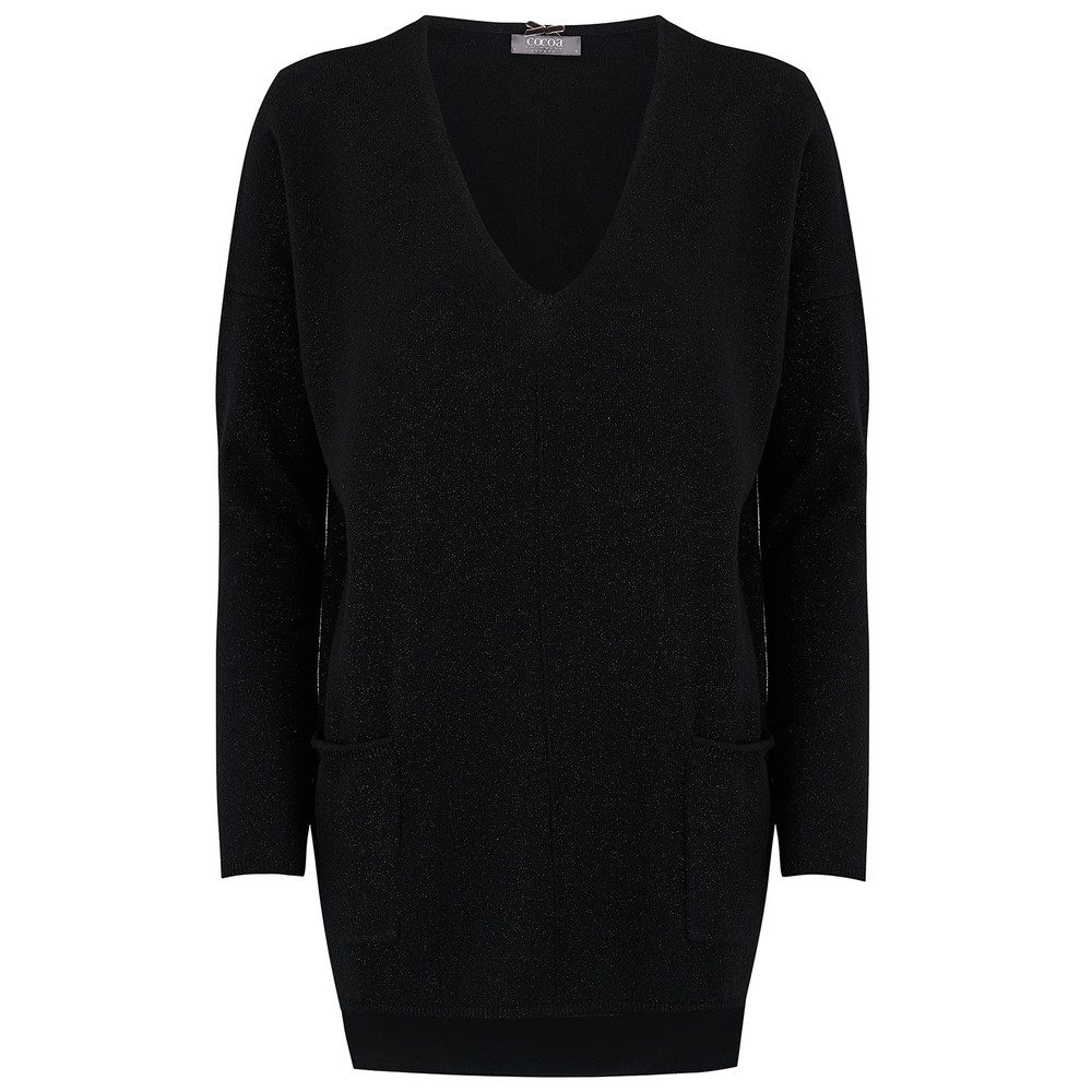 Boxy Lurex Cashmere Sweater - Black
