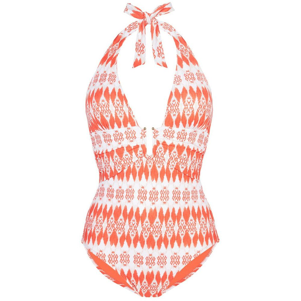 Punte Del Este U-Bar One Piece - Coral & White