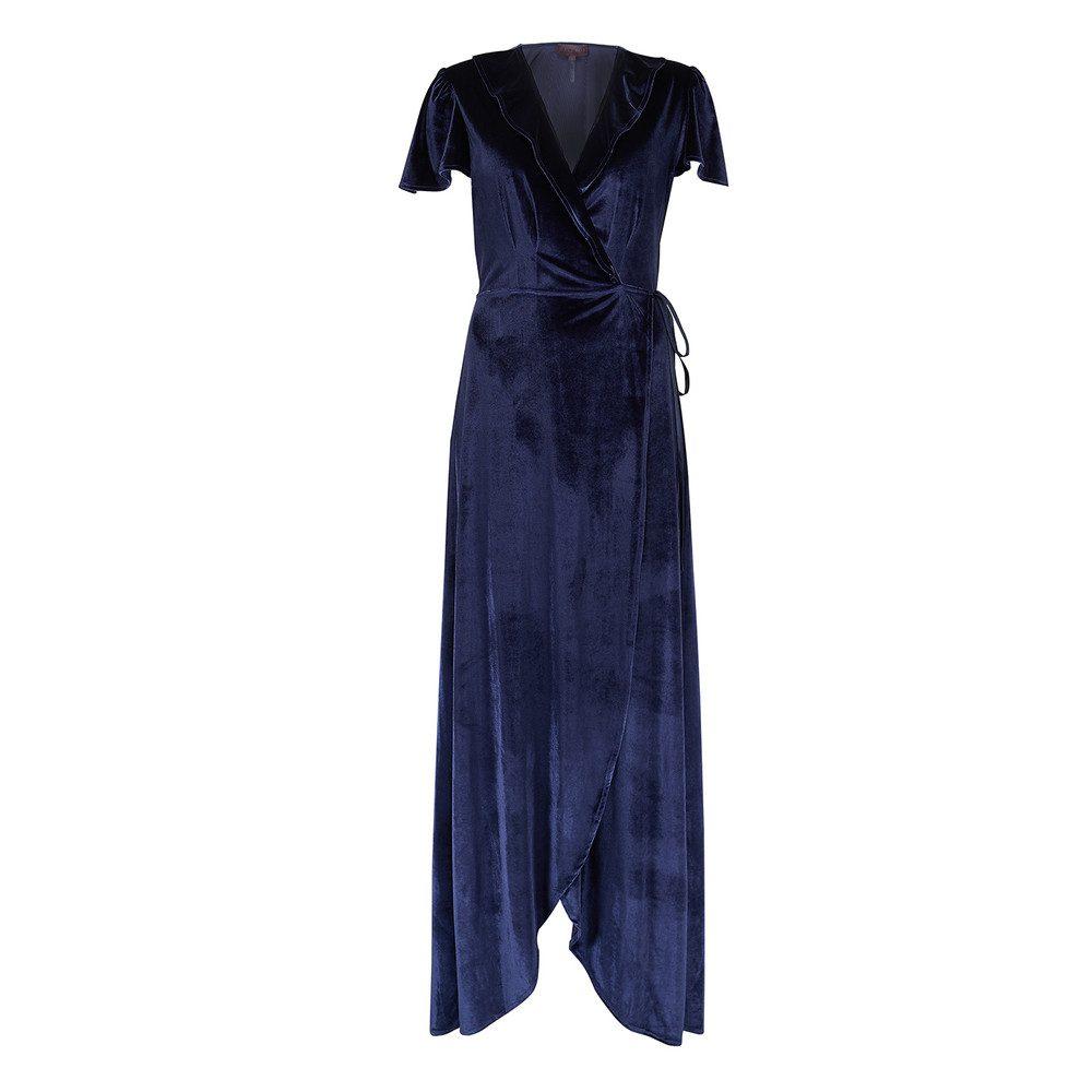 Jovina Velvet Wrap Dress - Navy
