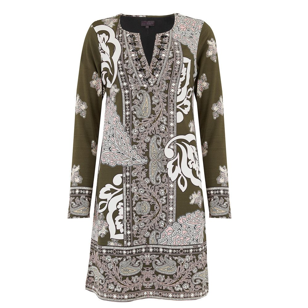Long Sleeve Printed Dress - Olive