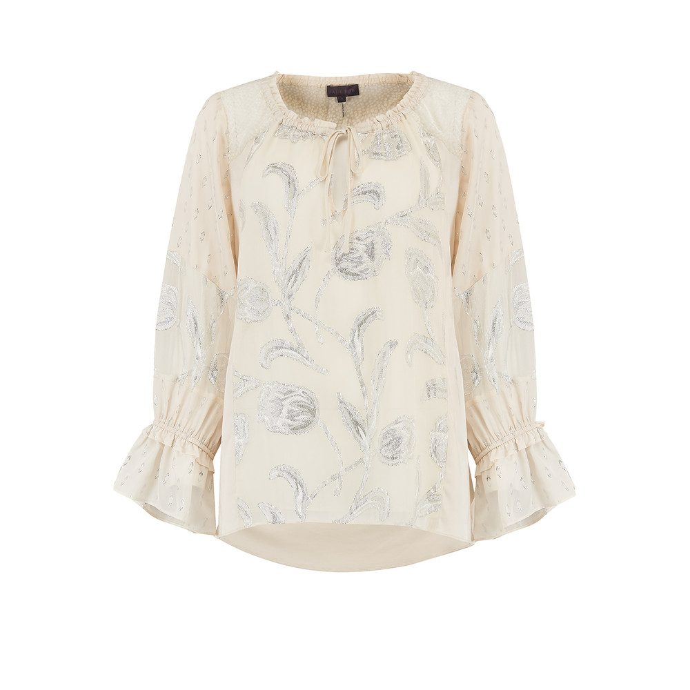 Metallic Printed Blouse - Stone