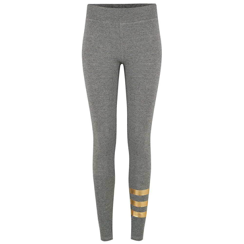 Foil Stripes Yoga Pants - Grey