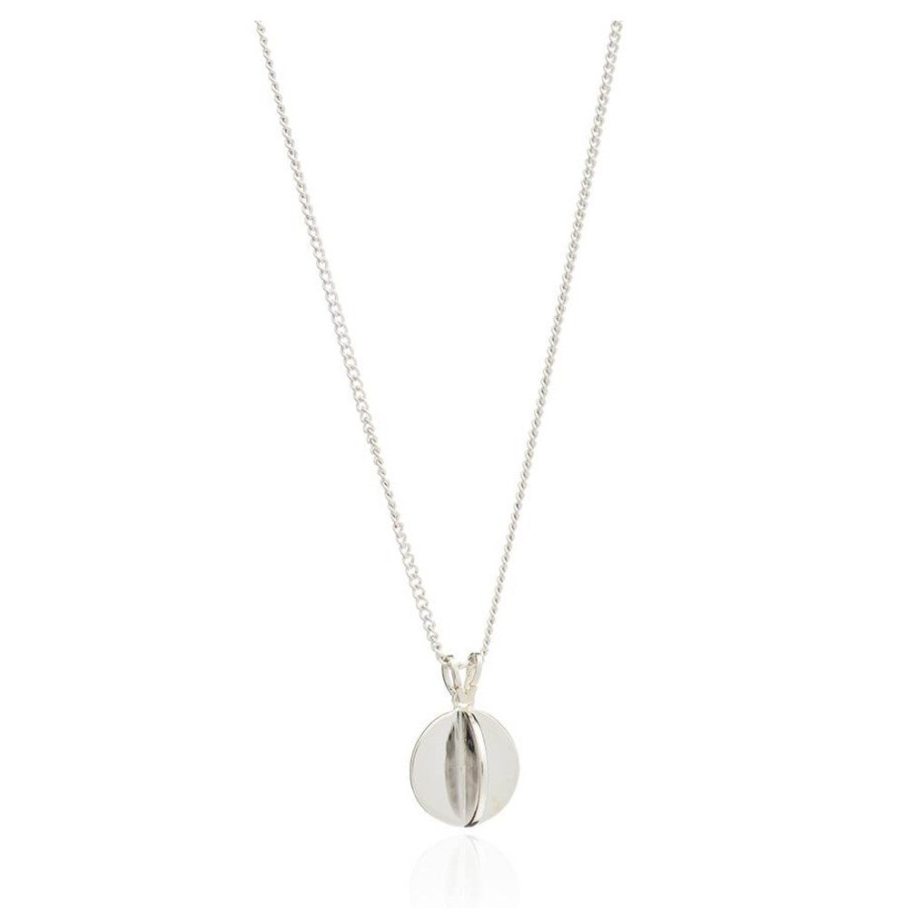Moon Orb Pendant Necklace - Silver