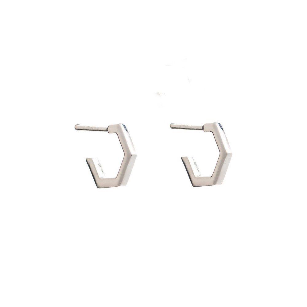 Serenity Mini Hexagon Hoop Earrings - Silver