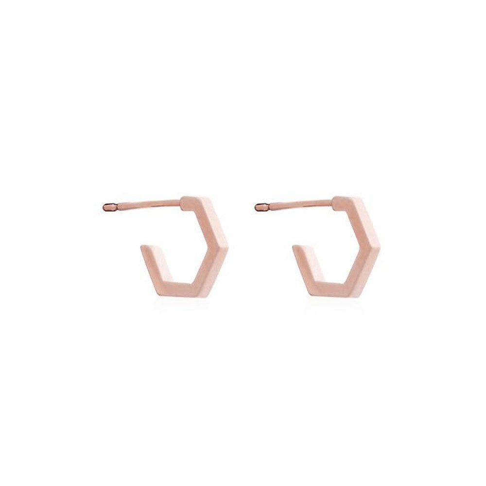 Serenity Mini Hexagon Hoop Earrings - Rose Gold