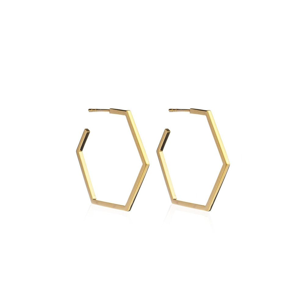 Serenity Large Hexagon Hoop Earrings - Gold