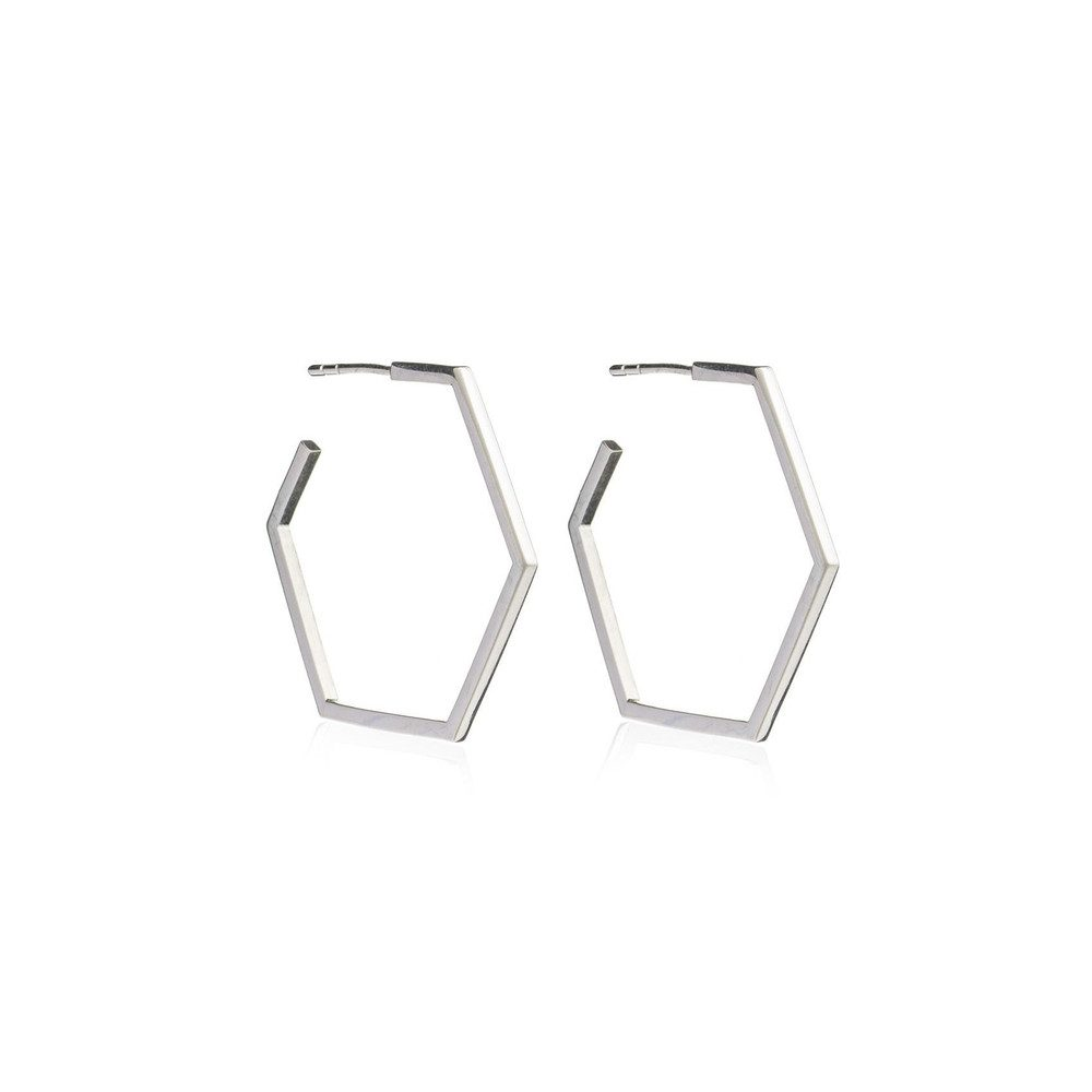 Serenity Large Hexagon Hoop Earrings - Silver