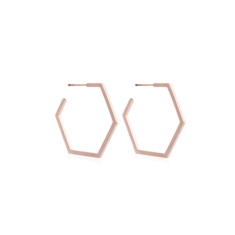 Serenity Large Hexagon Hoop Earrings - Rose Gold