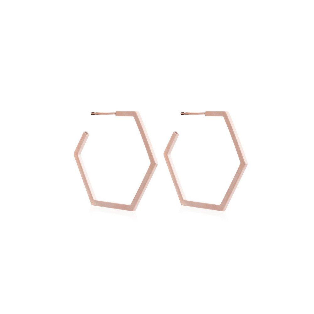 Serenity Large Hexagon Hoop Earrings - Rose Gold