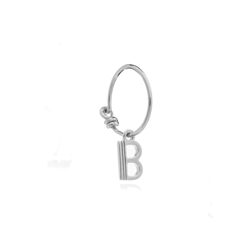 This is Me Silver Mini Hoop Earring - Letter B